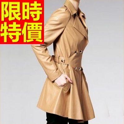 真皮大衣-有型修身防寒韓版長版女皮風衣3色63o3巴黎精品