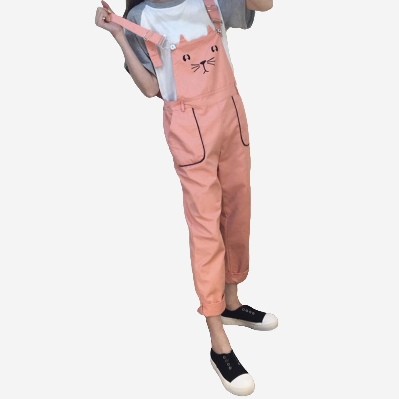 可愛刺繡貓咪雙口袋吊帶長褲 (黑  粉橘  黃  水綠)四色售11730013