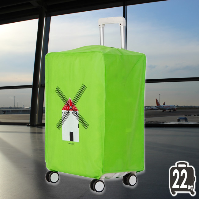 《J 精選》英倫風情Q版風車圖案綠色加厚不織布行李箱保護套/防塵套(22吋)