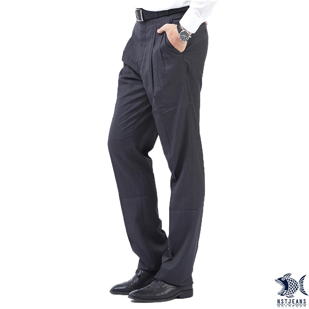 【NST Jeans】夏季 羊毛打摺西裝褲 經典灰色雨絲紋 (中高腰 寬版) 001(7269) 中老年/台製/紳士/男