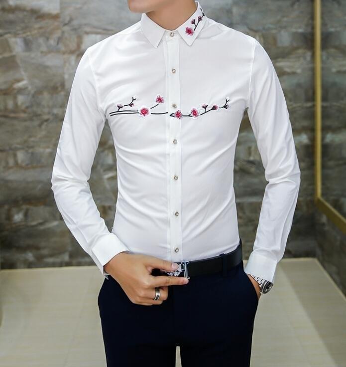 找到自己品牌男時尚潮薄款修身胸前衣領刺繡梅花長袖襯衫刺繡襯衫