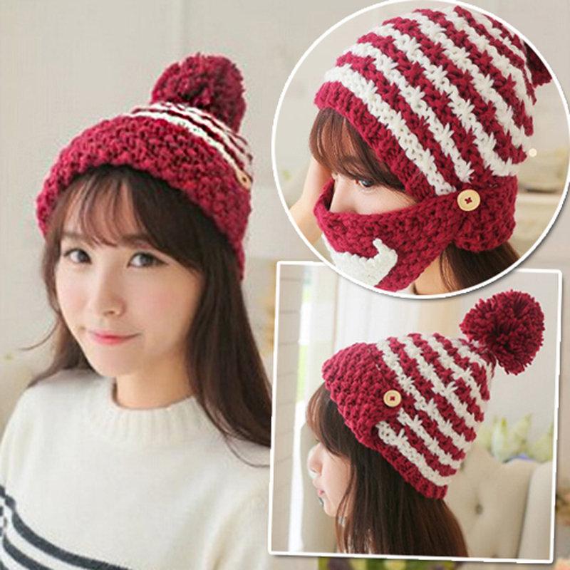 【Conalife】韓版三用潮鬍子針織帽秋冬季保暖口罩 毛帽 雪帽 造型