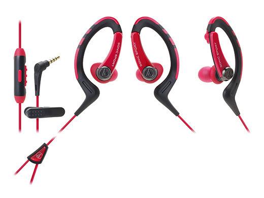 鐵三角ATH-SPORT1iS智慧型手機用運動專用耳機IPX5公司貨紅色My Ear台中耳機專賣店