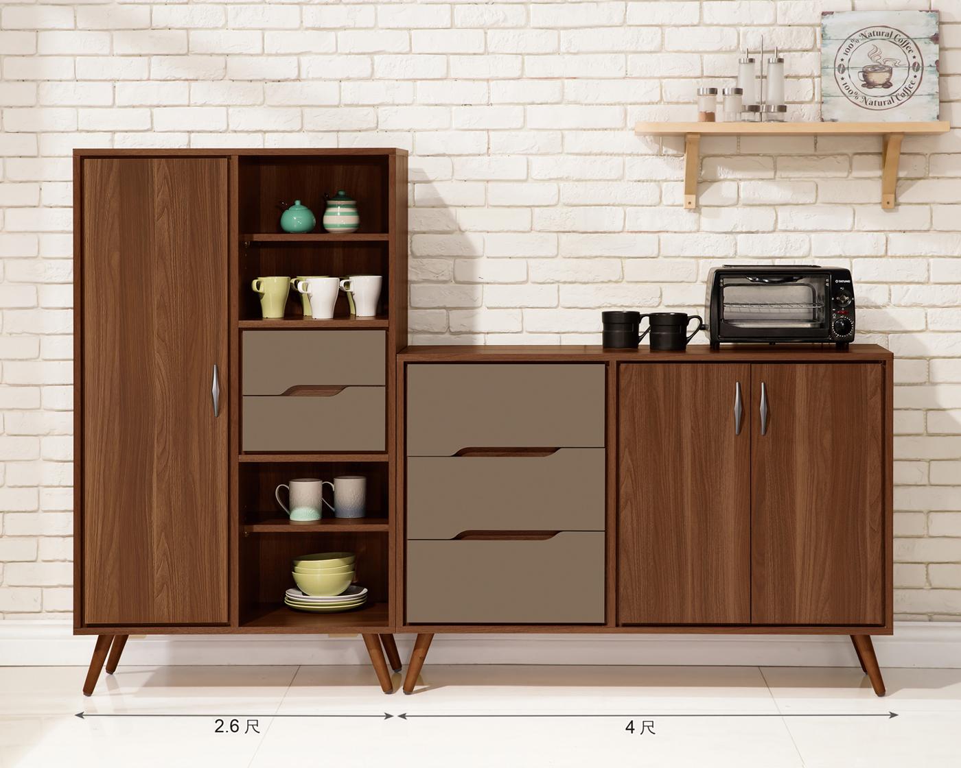 【森可家居】米蘭6.6尺餐櫃 (全組) 6ZX903-5 收納廚房櫃 碗盤碟櫃 木紋質感 工業風 北歐風
