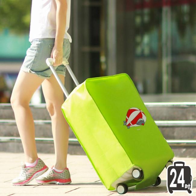 《J 精選》Q版可愛卡通飛船圖案綠色加厚不織布行李箱保護套/防塵套(24吋)