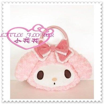 小花花日本精品Hello Kitty美樂蒂絨毛手提包提袋相機袋布蘭奇洛麗塔粉色緞帶41106105