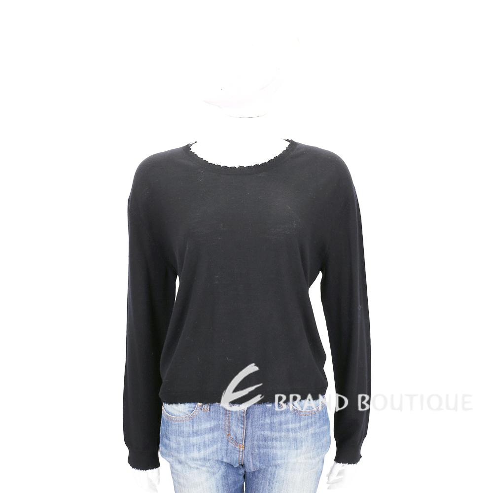 ALLUDE 深灰色毛邊設計圓領針織羊毛上衣(100%WOOL) 1710093-11