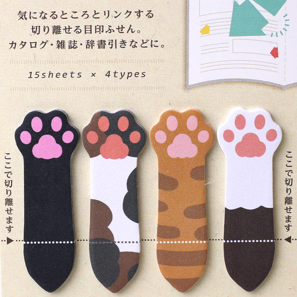 ❤Hamee 日本 創意造型系列 便條紙 便利貼 自黏貼 N次貼 辦公小物 (貓咪小手掌組合) [177-151203]