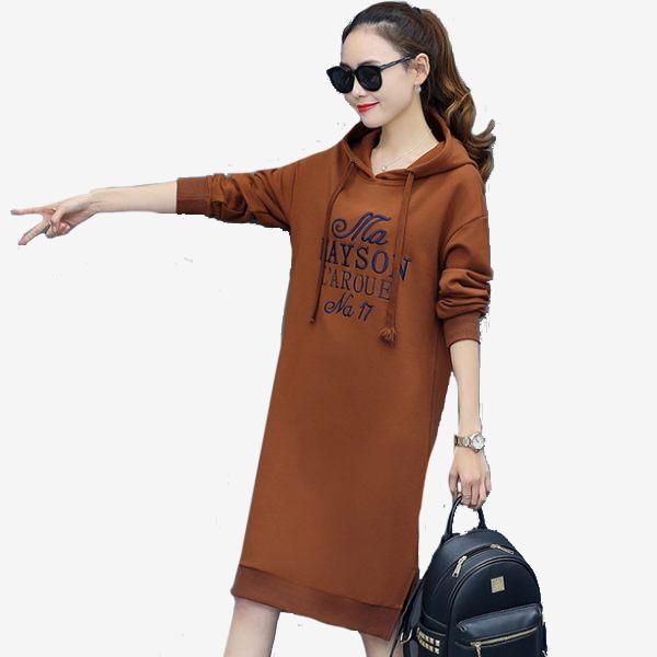 內刷絨字母刺繡純色長袖連帽連身裙 (黑 酒紅  南瓜棕) 11852047