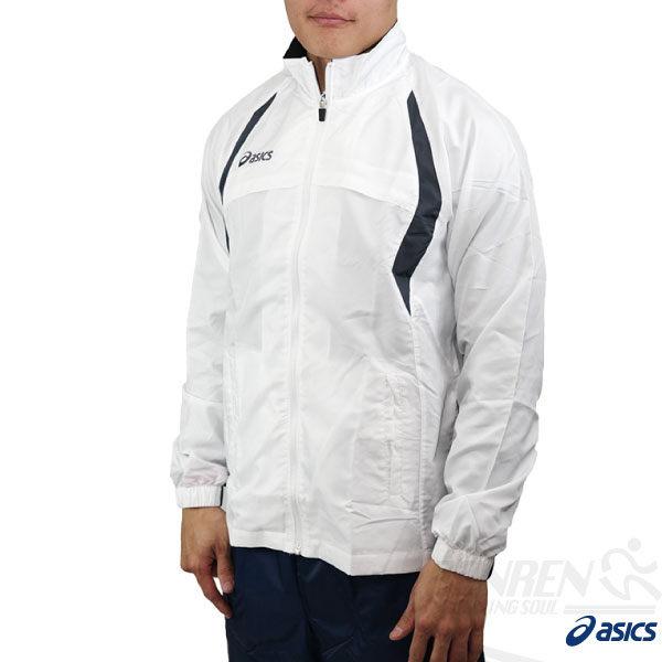 ASICS亞瑟士男路跑風衣外套白色平織運動外套防風防水吸汗速乾