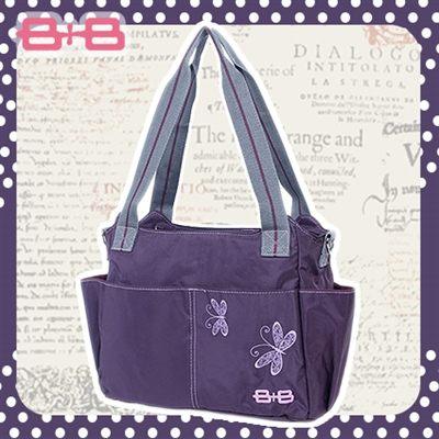 2用側背媽媽包-單純紫尿布墊保溫袋多功能肩揹側背媽咪包HAPPY B B E-B-95145B-PP