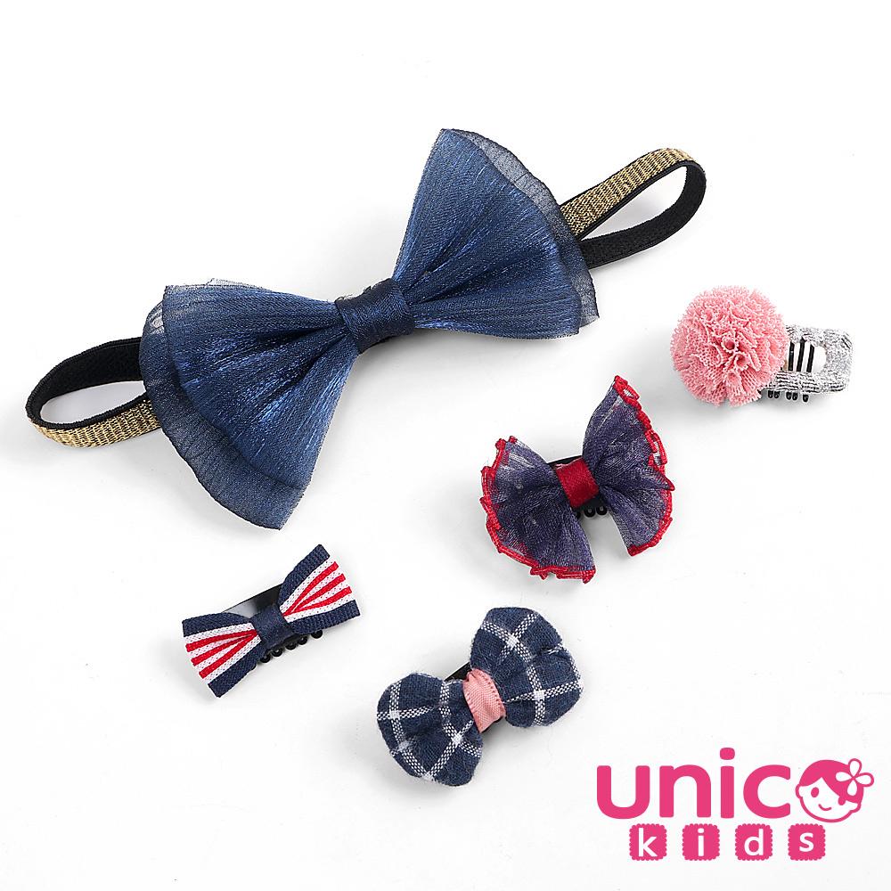 UNICO 兒童 少髮量寶寶俏皮藍色蝴蝶結髮帶安全髮夾組合-5入組