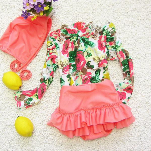 2015新款韓國防曬長袖高腰泳裝嬰幼兒兒童寶寶花朵裙式分體遊泳衣