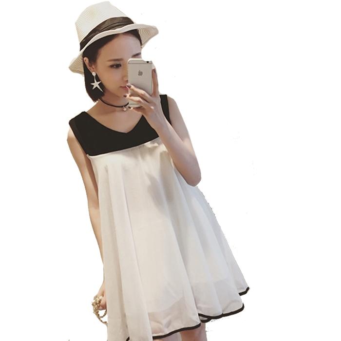 甜美雪紡拼接V領鏤空無袖A版洋裝 (黑/灰  黑/米黃  黑/白) 11850061