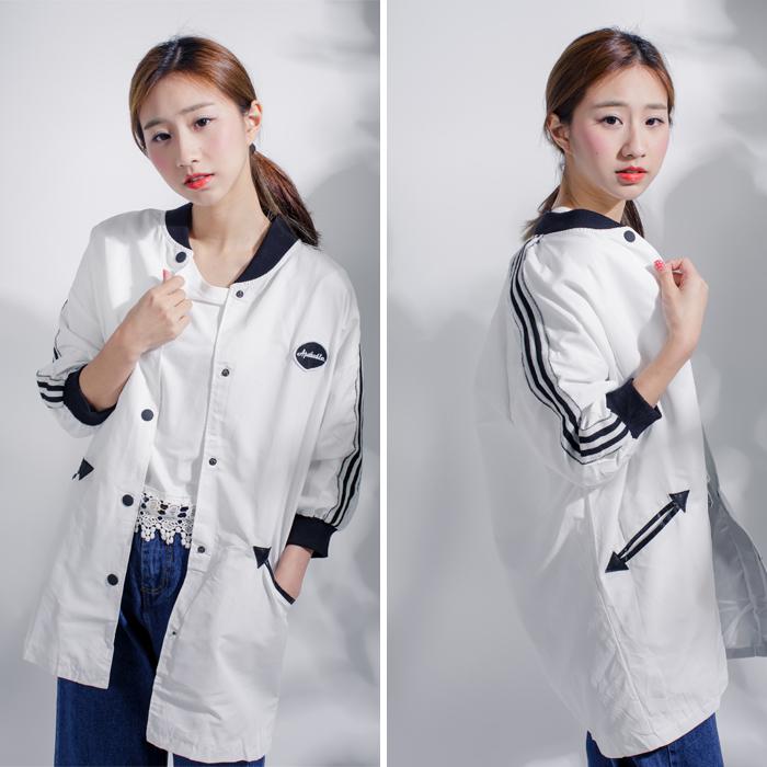 時尚棒球款韓風帥氣絲滑棉棒球口袋洋裝外套MNNO09061
