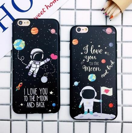 【SZ15】iphone 7 plus手機殼 宇航員 黑底 超薄 軟殼iphone 6s plus手機殼