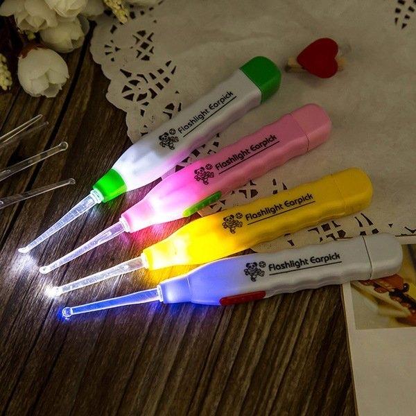 日式創意防滑手柄安全發光耳勺 LED燈 發光透明耳勺挖耳勺 三件套【SV9507】BO雜貨