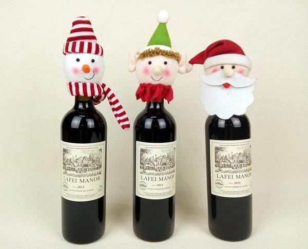 聖誕趴必備聖誕老人雪人紅酒瓶套紅酒瓶蓋套子餐廳餐桌裝飾ME002