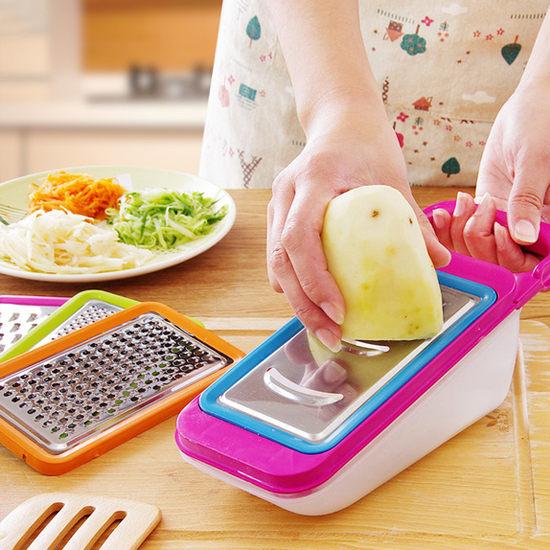 生活家精品J61-1不鏽鋼切菜器五件套磨蓉磨泥切絲切片刨絲刀片涼拌料理粗細