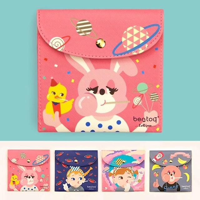 韓版可愛棒棒糖卡通人物衛生棉包收納包錢包皮夾短夾-共4色-B290019-FuFu