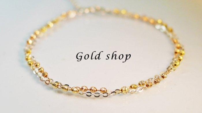 gold shop義大利585三彩K金手鍊長度16 2.5cm kb 036-0.58