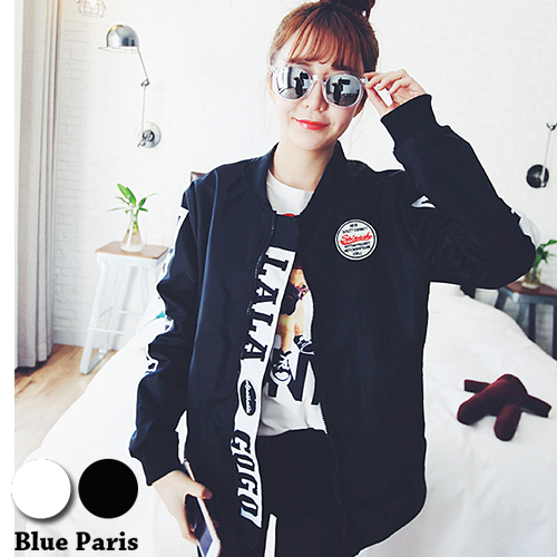 薄外套原宿風Let's GO滑面拉鍊開衫防風夾克飛行外套棒球外套29152 2色Blue Paris