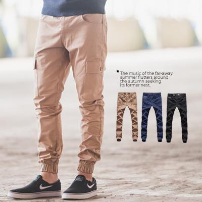 縮口褲素面挺版多口袋工作褲長褲束口褲N9955J