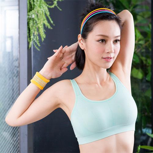 華歌爾-舒適律動美背-M-L-運動內衣清粉綠QB1096-GU