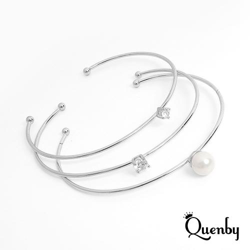 Quenby 簡約風鋯石點綴銀色開口手環/飾品-3件組