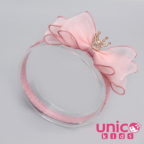UNICO 兒童 甜美可移動皇冠公主粉蝴蝶結髮帶/髮飾