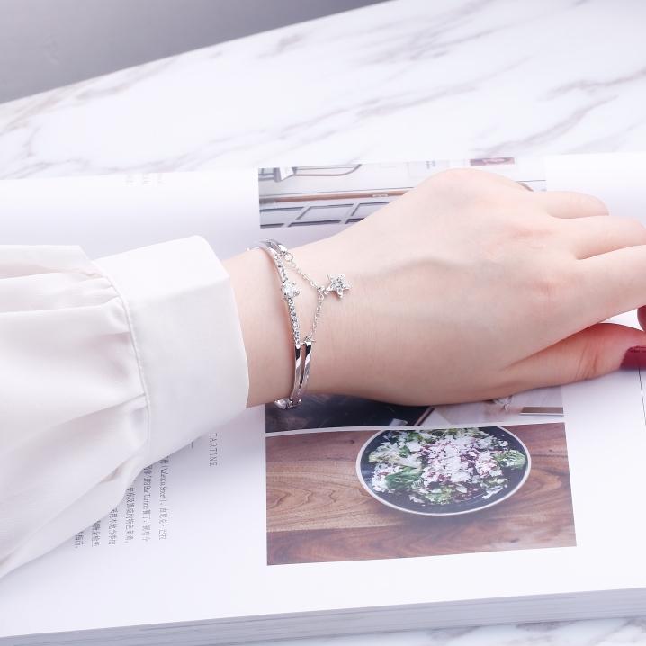 韓版簡約愛心手鍊星星手鐲女歐美個性學生首飾品閨蜜森系生日禮物