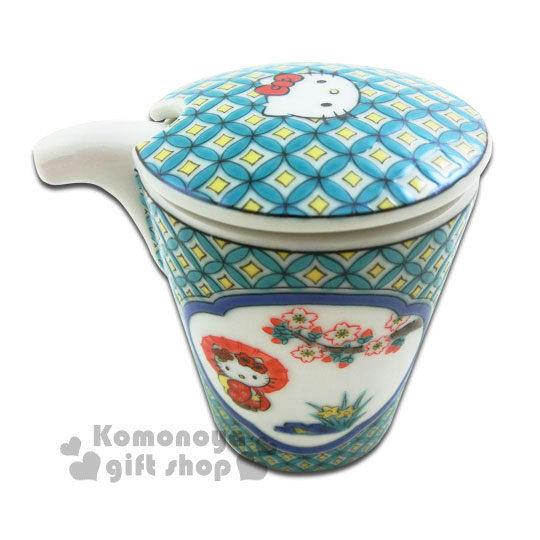 小禮堂Hello Kitty日製陶瓷醬油瓶綠.圓形紋.和服裝扮精緻九谷燒.葉朗彩彩4991567-98549