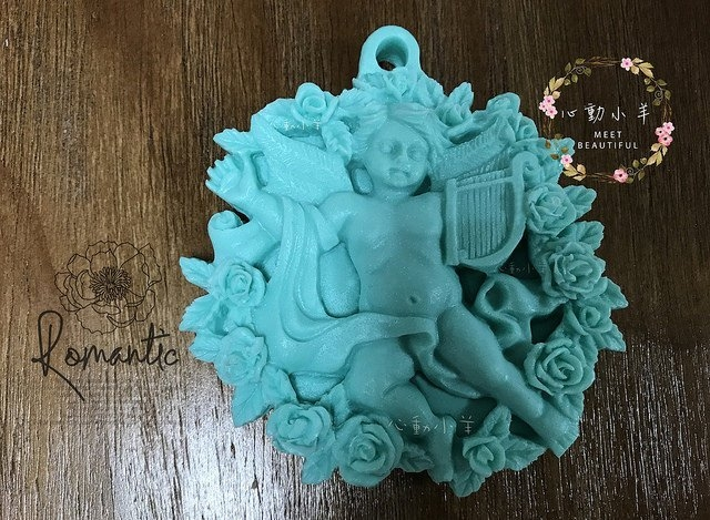 心動小羊^^DIY手工皂矽膠模具肥皂香皂模型矽膠皂模藝術皂模具香磚擴香石蠟片豎琴天使(單孔)