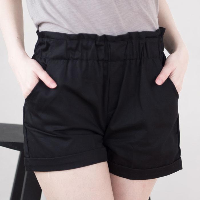 花苞休閒棉斜紋短褲  [黑 白 藍 亮黃綠] 四色售