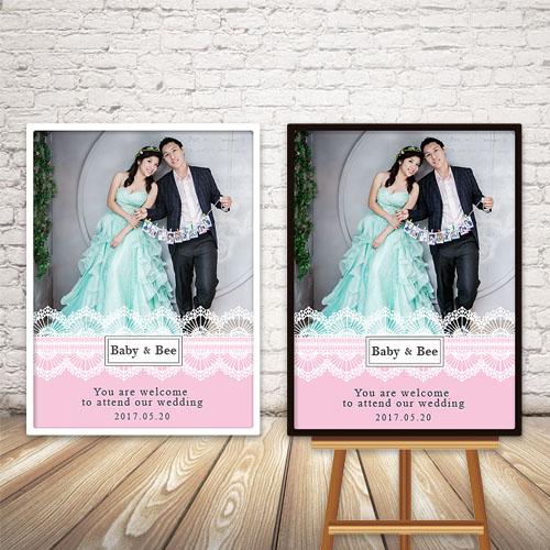 幸福婚禮小物浪漫典雅蕾絲照片迎賓板會場佈置迎賓牌客製化