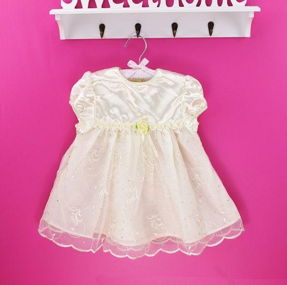禮服洋裝嬰兒小公主禮服女童周歲連身蓬蓬紗裙質感蠶絲內裡溫馨米白色2T 3T