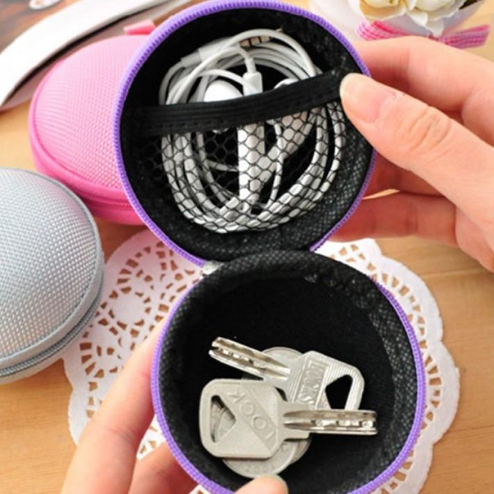 日本流行圓球零錢包帆布收納包耳機收納手拿包硬幣包鑰匙包零錢包-顏色隨機