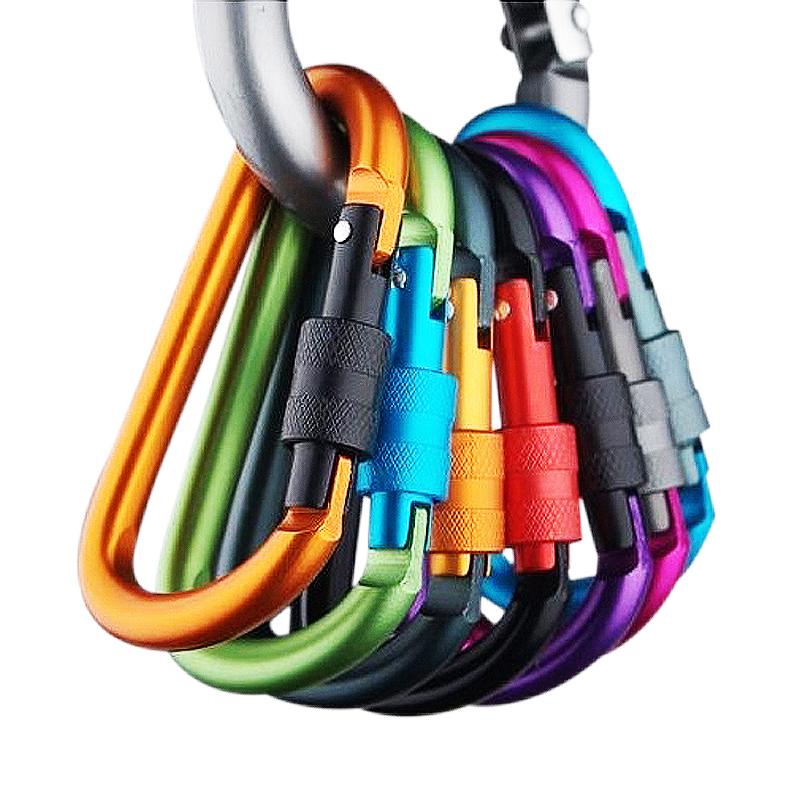 【泰博思】8cm D型帶鎖掛扣 鑰匙扣 戶外登山扣 多功能 露營 登山 掛扣【H016】