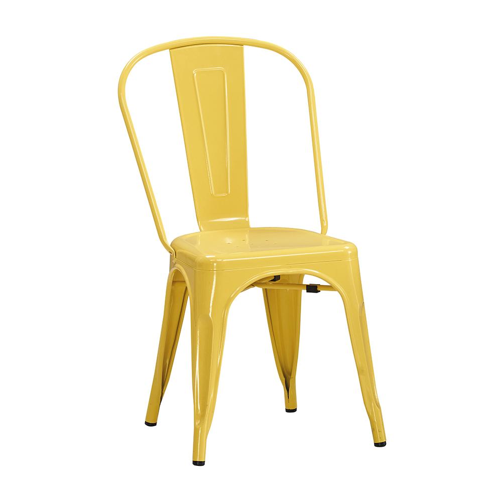 森可家居工業風鐵餐椅黃色6JX667-2美式復古餐椅子