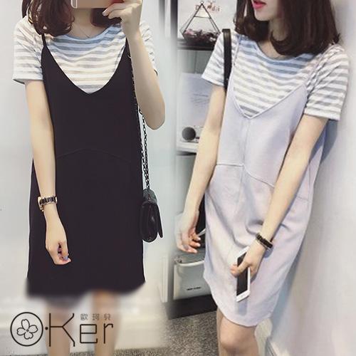 夏季條紋V領無袖吊帶兩件式連衣裙O-Ker歐珂兒LLA8875-C