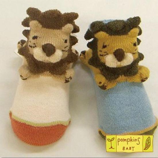 POMPKINS BABY日本3D動物造型襪子兒童襪藍色獅子