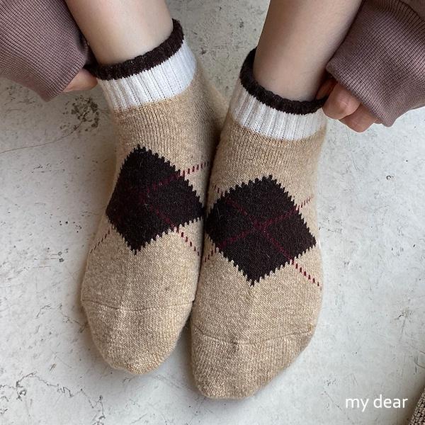 MD韓-虛線菱格短襪-3色【09190055】