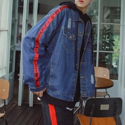 牛仔外套-翻領韓版時尚側邊織帶男丹寧夾克3色73pc40巴黎精品