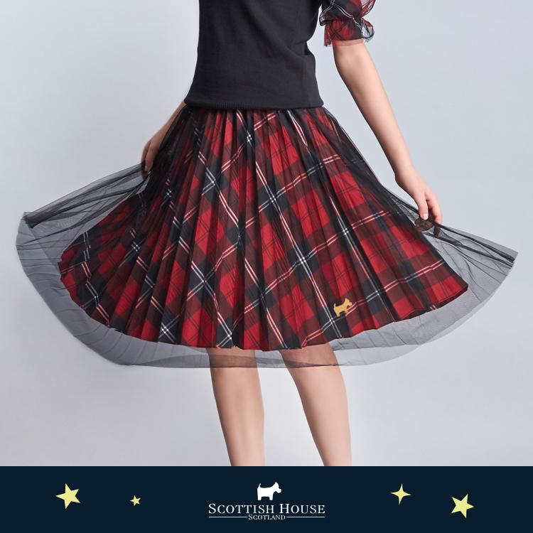 【紅黑格】兩穿網紗百褶格紋長裙 Scottish House【AJ2120】