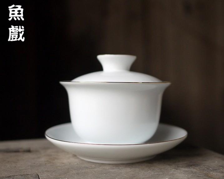 協貿國際景德鎮無光白瓷蓋碗描金三才茶碗功夫茶具脂白茶杯泡茶碗