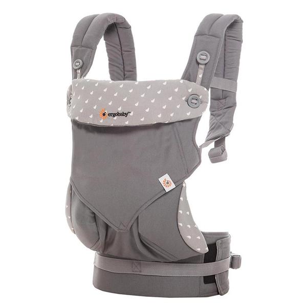美國ERGObaby四式360嬰兒揹帶-淺灰露珠