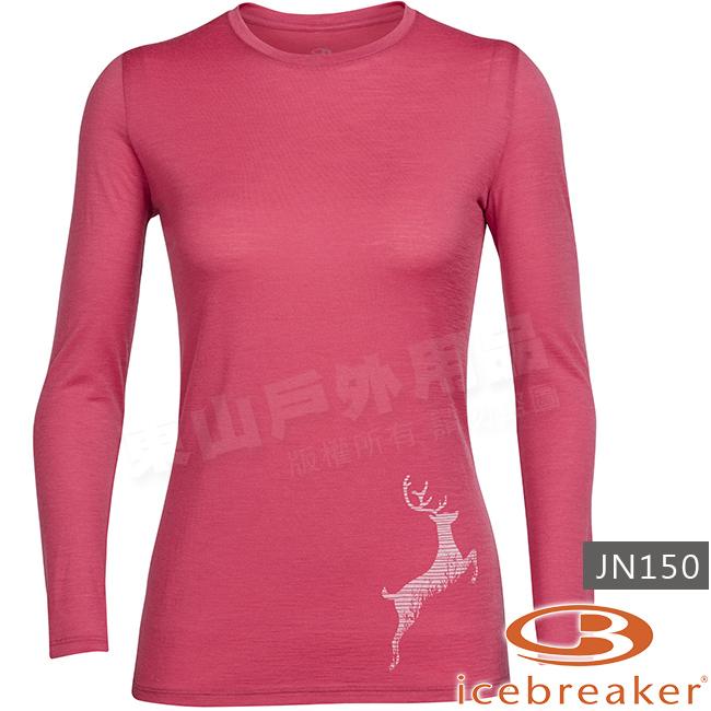 Icebreaker 103920-601野玫紅女羊毛圓領長袖T恤Tech美麗諾保暖上衣快乾機能服排汗休閒透氣衫