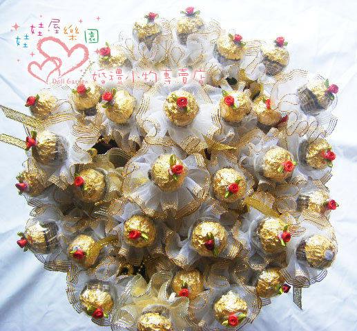 娃娃屋樂園~深情玫瑰金莎巧克力花棒每支28元婚禮小物二次進場送客禮喜糖籃