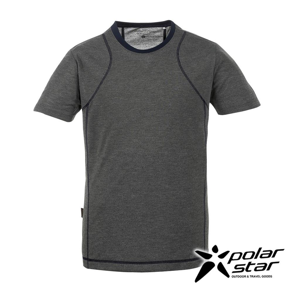PolarStar男排汗快乾圓領T恤吸濕排汗透氣T-shirt短袖運動服慢跑路跑休閒-P17131灰
