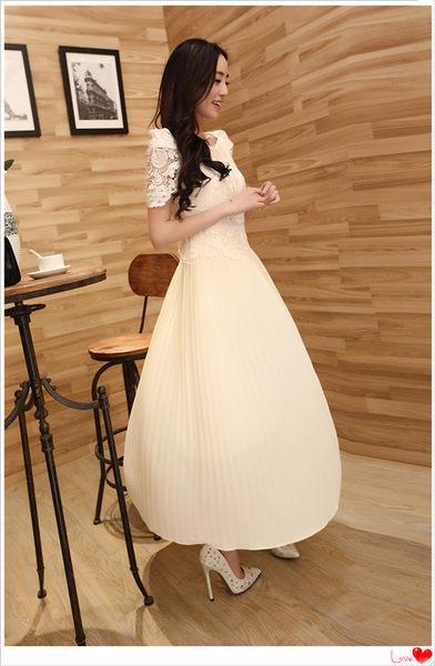 ✿ 3C膜露露 ✿ 客製化量身訂做禮服 新款蕾絲短袖長款連衣裙鉤花泡泡袖百褶晚宴禮服伴娘禮服